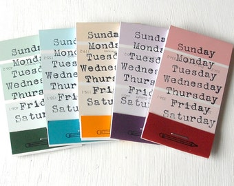PAINT CHIP MATCHBOOK notepads Set of 5- Days of the Week in brights