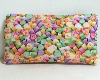 Notions Bag, Notions Pouch, Pencil Case, Phone purse, Makeup Bag, Valentines Day, Candy Hearts, Valentine Hearts, Valentine Candy