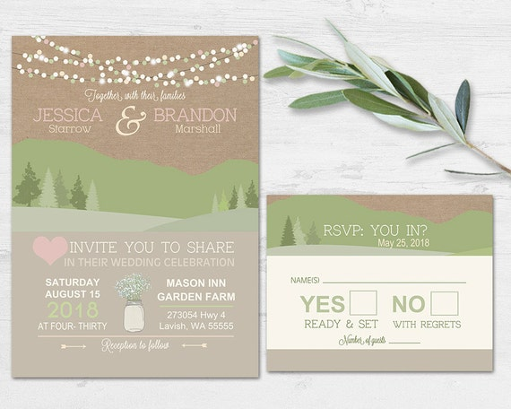 Mountain Wedding Invitations Rustic Natural Wedding Invites