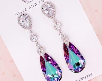 Swarovski Vitrail Light Purple Faceted Teardrop Crystal Earrings, Lavender Wedding, Bridal Bridesmaid Jewelry, Weddings - Wasima E66 N50