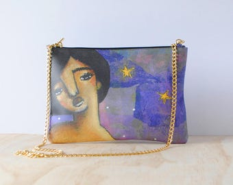Eco-friendly Leather Clutch, 'Too Many Miracles' by ChiarArtIllustration