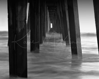 Ocean Pier black and white Landscape - Fine Art Nature Photography Katie McKinney.  5X7 White matted 8X10 photo wall print. Ready to frame.