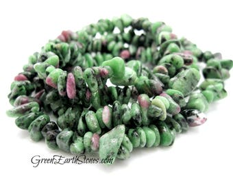 """Pretty! Ruby Zoisite Gemstone Chip Necklace, Crystal Healing Necklace, 34"""" long necklace,"""