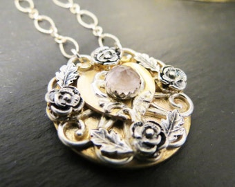 Custom Memorial Rose Gold filled and Silver Necklace for Hair or Pet Ashes EXAMPLE ONLY