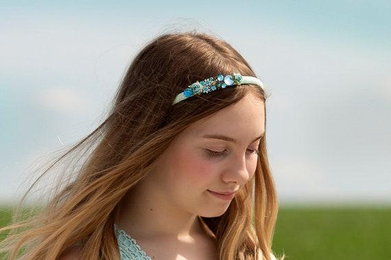 Spring Floral Aqua Mint Headband
