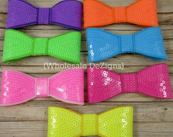 Large Neon Sequin Bows - Big Bows - Applique Bling Bow - Purple, Lime, Pink, Yellow, Hot Pink, Turquoise, Orange - 5 inch Bows