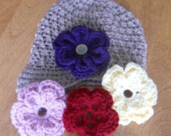 Cute Newsboy Hat with Interchangable Flowers