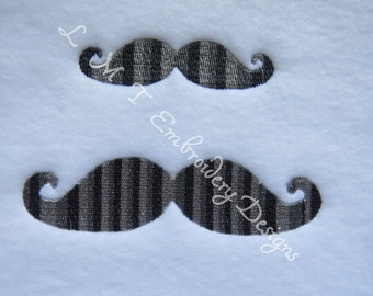 Mustache Embroidery Designs -2 sizes