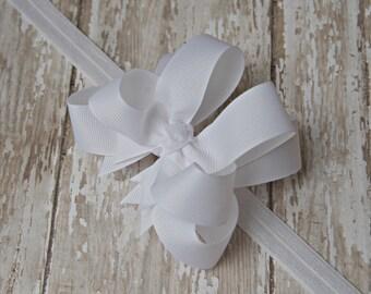 White Headband Double Layered Infant Toddler Bowband White Baby Headband White Headband Baby Headband Christening Baptism