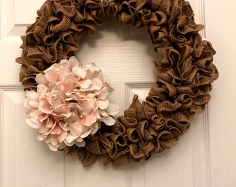 Fall burlap wreath with cream hydrangea flowers, spring wreath, summer wreath, Mother's Day wreath