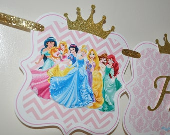 Large Princess Personalized Birthday Banner