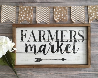 READY TO SHIP Farmhouse Sign - Country Decor - Farmers Market Sign - Farmhouse Kitchen Sign - Rustic Decor - Rustic Sign - Framed Sign - Far