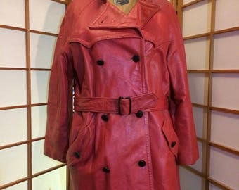 Red Spy Vintage Leather 70's Trench Spy Coat  L/XL