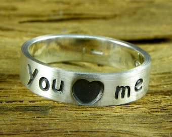 """Love Rings Sterling silver 925 - """" you (love) me """" - customizable"""
