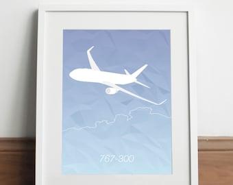 Boeing 767-300 Aircraft - Art print