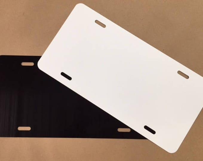 "5- License Plate Blank - Black/White 6""x12"" .025"