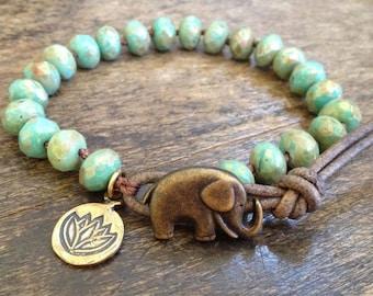Elephant Jewelry, Boho Bracelet, Elephant Bracelet, Boho Jewelry, Lotus Flower, Turquoise Bracelet, Boho Wrap Bracelet, Bohemian Jewelry
