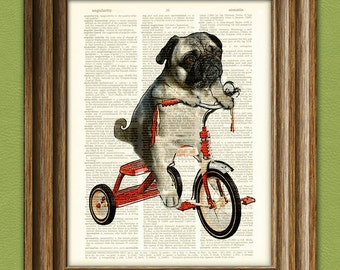 Pug Art Print Mike the Trike pug dog on a tricycle original art vintage dictionary page book art print