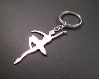 Ballerina Keychain, Silver Chrome Steel Split Key Ring, Dancer Gift, FREE Shipping U.S.