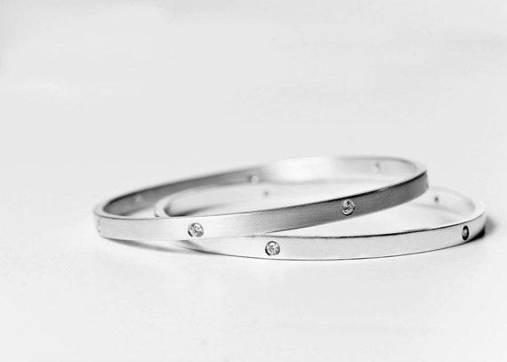 Diamond and Silver Bangle