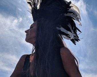 Burning Man Costumes, Burning Man Headpiece, Feather Mohawk, Feather Headdress, Carnival Headdress, Feathered Headdress, Costume Accessories