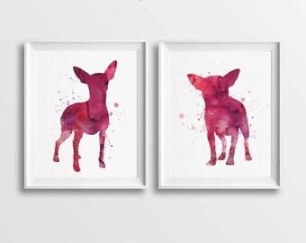 Set of 2 Prints, Chihuahua Art, Digital Chihuahua, Large Wall Art, DIY Wall Art, Watercolor, Magenta, Chihuahua Wall Decor, Chihuahua Poster