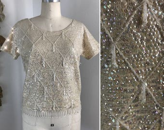 1950s sweater sequin sweater beaded sweater ivory sweater iridescent sweater tassel sweater Fringe sweater 38 bust knit top beaded top