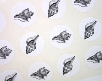 Conch Shell Stickers One Inch Round Seals