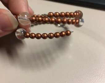 Copper and clear beaded bracelet