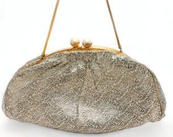 SALE Midcentury Metallic Brocade Handbag