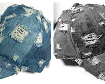Extreme Distressed Denim Baseball Cap.......  New & Abused!