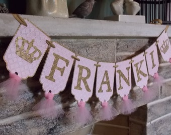 Girl's Custom Name Banner with Crowns, Pink and Gold Banner, Birthday Banner, Nursery Decoration, Baby Shower Banner, Baby Girl Banner