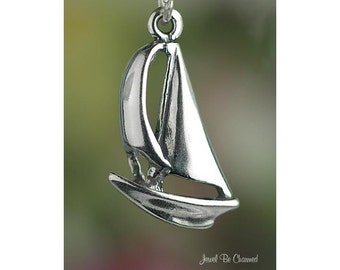 Sterling Silver Sailboat Charm Boat Nautical Ocean Sailing Solid .925