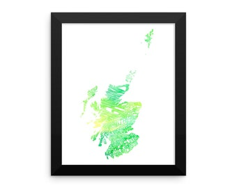 Scotland watercolor typography map art FRAMED print country poster wedding engagement graduation gift anniversary wall decor
