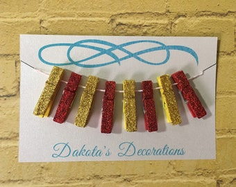 Mini Clothespins, Set of 8, Glittered, For Office or Crafting, Red/Yellow (4 of each)