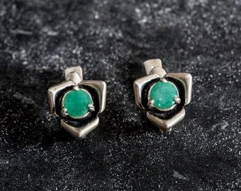 Emerald Earrings, Flower Earrings, Natural Emerald, Rose Earrings, May Birthstone, Vintage Earrings, Silver Earrings, Real Emerald, Emerald