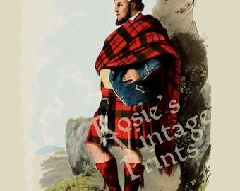 Clan MacDonald - Scottish Highlander ~ Traditional Tartan and Arms ~ Kilt - Scottish Clan Poster - Genealogy Poster - Scotland - Gaelic