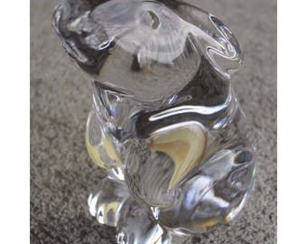 Baccarat Clear Crystal France Sitting Bunny Rabbit Figure Paperweight Figurine Hand Warmer with original Box