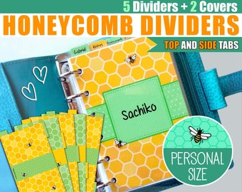 Personal Size Honeycomb Dividers 5 Top and Side Tabs & 2 Covers for Filofax Kikki.K Planner Organizer Printable PDF Instant Download