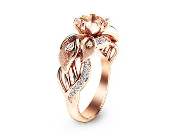 14K Rose Gold Morganite Engagement Ring Calla Lily Design Morganite Ring Unique Flower Ring Nature Inspired Engagement Ring