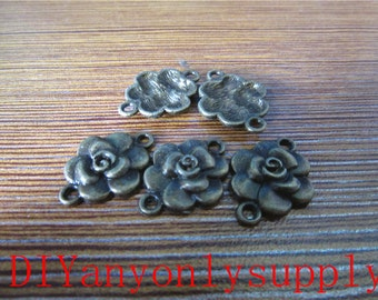 lead and nickel free---50pieces 21x16mm antiqued bronze rose flower connectors zinc alloy charms findings