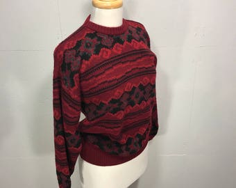 Vintage 80s Florance made in Italy knit burgundy print fitted pullover sweater grafic design