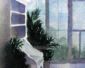 Cape May porch watercolor archival print of original painting-porch painting-interior painting-carol sapp-Chalfonte Hotel-summer porch