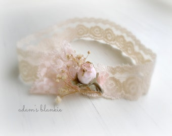 Alania - Cream Ivory Beige Pink Headband -  Vintage Style - Lace Flowers Rosebud - Girls Newborns Baby Infant Adults