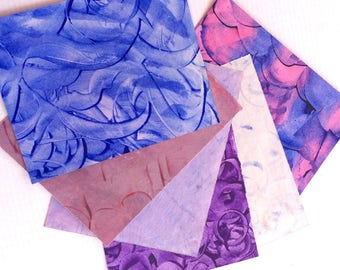 Hand decorated paste paper for all creative uses. Blue and Purple. Ref# 1707