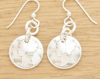 For 95th: 1923 US Mercury Dime Earrings 95th Birthday Gift Coin Jewelry