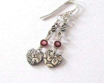 Fine Silver Heart Earrings, Rhodolite Garnet Gemstone Accent, Leaf and Flower Pattern, Art Nouveau Floral, Ear Wire Options