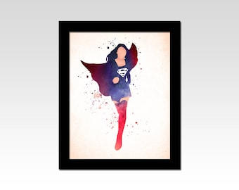 Supergirl inspired watercolour effect print