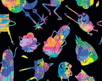 Adventure time fabric, tie dye fabric, finn and jake, princess bubblegum, ice king, lumpy space princess, finn the human, jake the dog