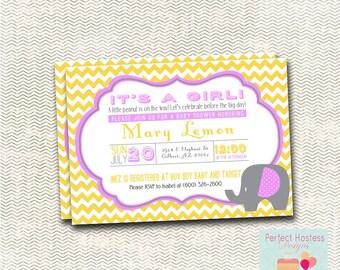 Chevron Elephant Baby Shower Invitation